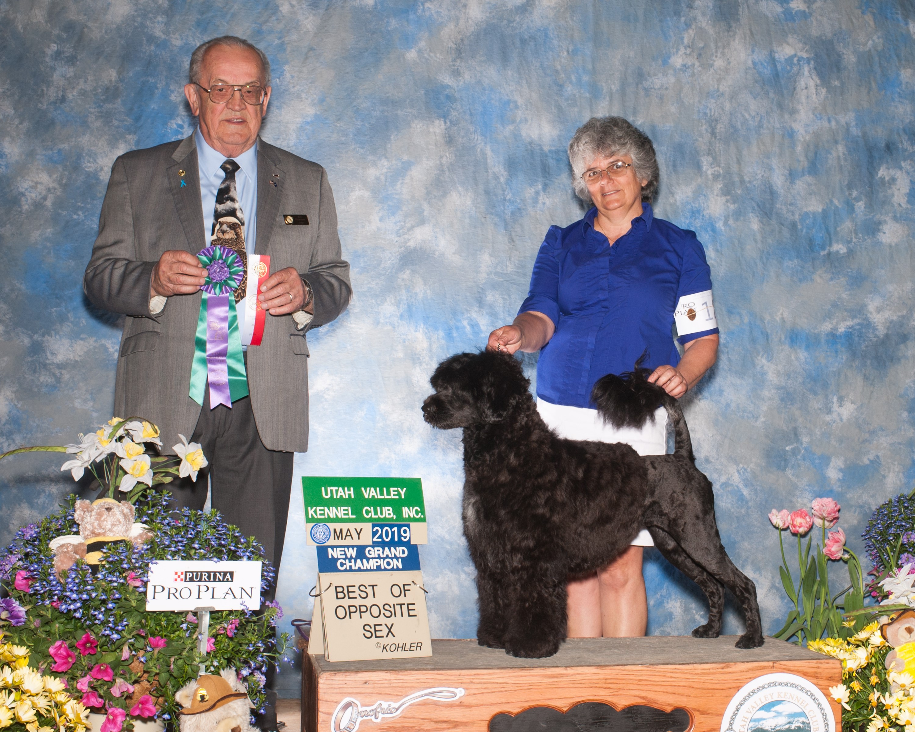 Dani with breeder, Becky Morin, and Judge holding winning ribbons