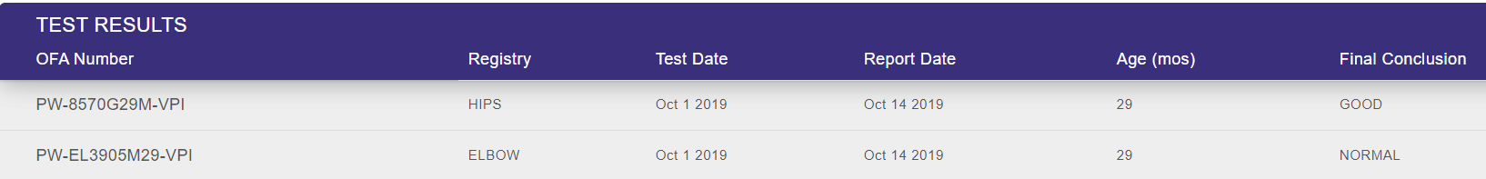 Jaco's OFA Health Test